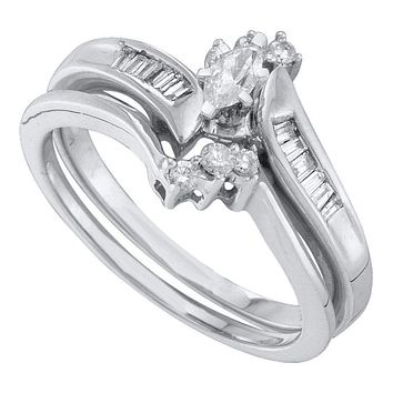 10kt White Gold Women's Marquise Diamond Solitaire Bridal Wedding Engagement Ring Band Set 1/4 Cttw - FREE Shipping (US/CAN)