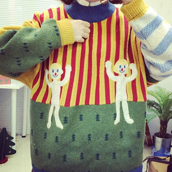 Ugly christmas sweaters for women winter cute cartoon embroidery knit sweaters patchwork striped turtleneck sweater Nora151181