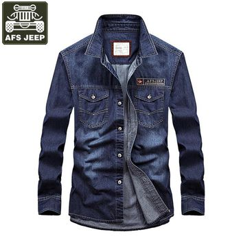 AFS JEEP Brand 2017 Denim Shirt Men Casual Shirts Oxford Cotton Long Sleeves Mens Shirts Slim Fit Camisa Masculina Plus Size 5XL
