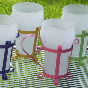 Vintage Soda Glasses with Metal Holders Frosted Glass Purple, Pink, Yellow and Green Set of 4
