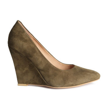Suede Wedge-heeled Pumps - from H&M