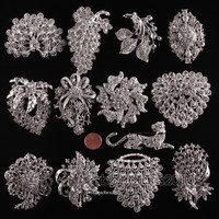 1pc Wholesale Rhinestone Crystal Wedding Bridal Bouquet Flower Pearls Brooch Pin