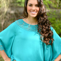 Teal Poncho Top