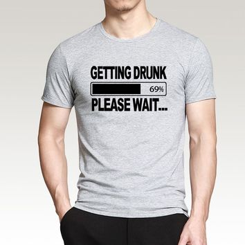 Stag Party Gift funny men t shirt Getting Drunk Please Wait... print 2016 summer 100% cotton t-shirt hip hop style slim top tees