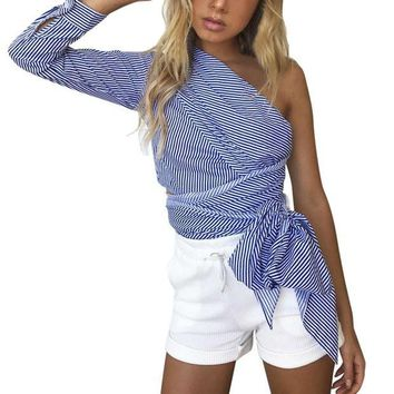DCCKON3 womansone shoulder top casual long sleeve knitted striped blusa with ribbons loose blue shirt