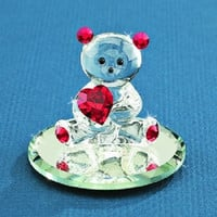 Glass Baron Bear with Red Heart