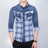 Men Shirts Shirts Long Sleeved Plaid Denim Shirts Casual Slim Fits BL