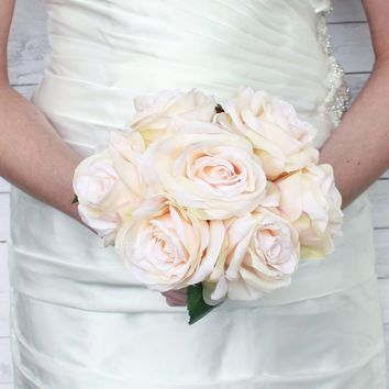 "Rose Silk Wedding Bouquet in Peach Cream11.5"" Tall"