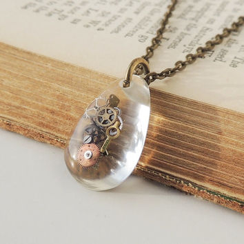 Little Steampunk Necklace, Watch Parts in a Small Resin Pendant, Steampunk Jewelry, Resin Jewelry