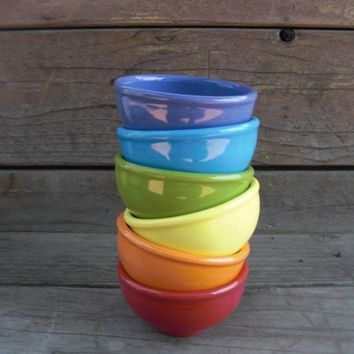 Set of 6 Colorful Rainbow Pinch Pots or Prep Bowls by InAGlaze