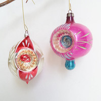 2 Vintage Ornaments Indent CollectiblesChristmas Decor Hand Painted Hand Blown