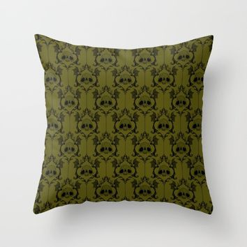 Halloween Damask Green Throw Pillow by Abigail Larson