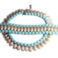 Crown Trifari Egyptian Revival Turquoise Bead and Brushed Gold Tone Metal Necklace Bracelet Set