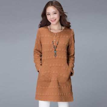 2017 Autumn Women Sweatshirt Long Sleeve Loose Hoodies Coat Lady's Winter Thick Warm Pullovers with Pockets Dress Plus Size 4XL