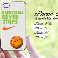nike basketball never stop design iphone case for iphone 4 case, iphone 4s case, iphone 5 case, iphone 5s case, iphone 5c case