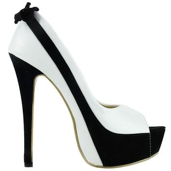 Classic Black & White Peeptoe Platform High Heel Stilettos