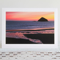 Ocean Sunset Photo Greeting Card, Evening Sky with Water Reflections, Nature Fine Art Photography, Sunset Over Pacific Ocean, Oregon Coast