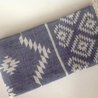Turkish Towel Exotic, Peshtemal, beach towel, bath towel, picnic towel party, wedding party, bachelor party, gift, navy color