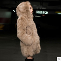 New Fashion Women Faux Fur Winter Long Coat Hooded Elegant Overcoat Designer S234