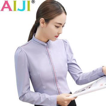 AIJI autumn summer women's long sleeve blouse shirts OL elegant solid Formal chiffon shirts ladies office work wear tops