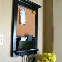 Cork Board  or Chalkboard with Mail Slot Cubby and Keyhook Organizer