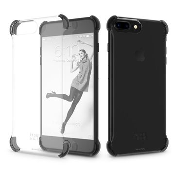 iPhone 7 PLUS / iPhone 8 PLUS Case DesignSkin [Corner] Shock Absorbing Ultra Slim Light Thin Protection Transparent Basic Back Bumper Case Minimalist Compatible w/ iPhone 8+/7+/6s+/6+ (Black Corners)