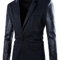 Argyle Design PU Leather Lapel Long Sleeve Blazer