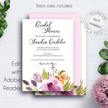 Bridal Shower Marsala Invitation, Rose, Floral Watercolor, Editable Template, Bride, Bridal Invitation, Botanical Bridal Brunch