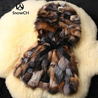 New Real fox fur Vest women fox fur coat winter fur jacket customized big size Free shipping F674