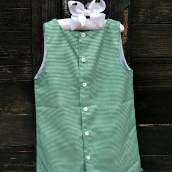 Personalized Green Gingham Girls Dress  - Easter - Monogrammed