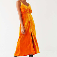 UO Lady Lava Covered Button-Down Velvet Midi Dress | Urban Outfitters