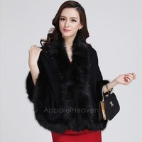 Women Loose Luxury Shawl Cloak Cardigan Sweater Wrap Cape Faux Fur Cloak Coat Jacket   AP [8833913932]