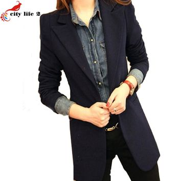 Plus Size 3XL Blazer Women New Spring 2016 One Buckle Long-Sleeved Suit Jacket Female Coat Leisure Lapel Ladies Blazers Jackets