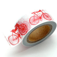 Washi Tape Paper Masking Tape - Red White Bike Bicycle