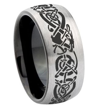 8mm Celtic Dragon Dome Tungsten Carbide Silver Black Wedding Band Mens