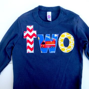lowercase two Long Sleeve Birthday Shirt  in Navy with red chevron, fire truck, yellow for 2 year old firetruck