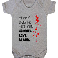 Mummy Loves Me More Than Zombies Love Brains Cute Funny Zombie Baby Onesuit Vest