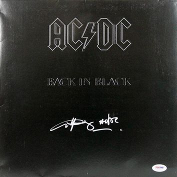 MDIGON Angus Young Signed Autographed 'Back in Black' AC/DC Record Album (PSA/DNA COA)