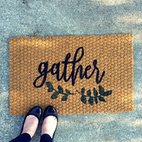 Gather Thanksgiving Doormat – Hand Painted Coir Outdoor Rug  – Welcome Mat - Home Decor, Holiday Decor
