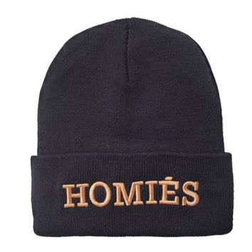 HOMIES Beanie Letter Embroidered Knitted Wool Womens & Mens Warm Winter Black Cuffed Skully Hat