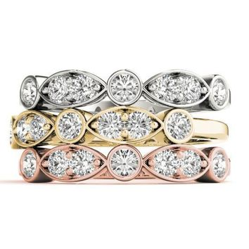 Stackables 1/2 Eternity Tri-Tone Gold Double Diamond Marquise Bezel  3-Band Set