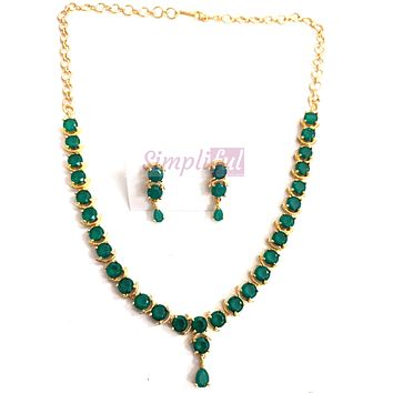 Round crystal bead embedded Choker Necklace and stud Earring set