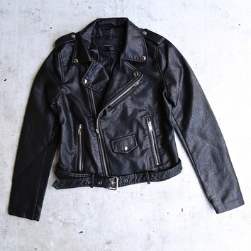 vegan leather cropped moto jacket - black