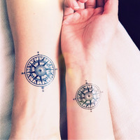 2pcs Vintage Compass tattoo travel - InknArt Temporary Tattoo - wrist quote tattoo body sticker fake tattoo wedding tattoo small tattoo