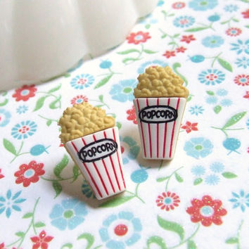 Popcorn Stud Earrings -  Miniature Food - Post Earrings - Snack Food - Junk Food - Plastic Earrings - Hypoallergenic Nickel Free