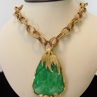 Castlecliff Necklace Green Chrysoprase Stone Pendant Gold Plate Chain