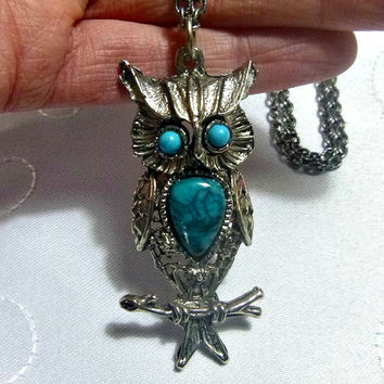 Turquoise Blue OWL Necklace Pendant Retro Kitsch 70's Owls Costume Jewelry Jewellery Silver Tone Vintage Seventies Horned Owl Faux Turquoise