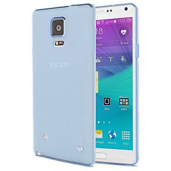 Samsung Galaxy Note 4, Clear Light Blue Slip-on Protective TPU Case Cover