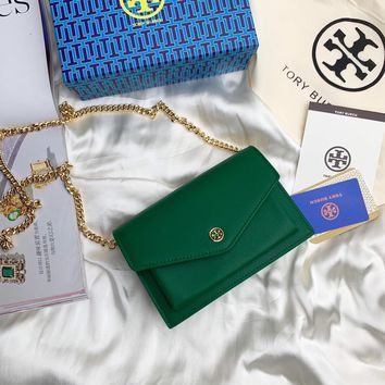 Kuyou Gb99822 Tory Burch Twist Chain Wallet In Green Grained Leather 1986 19cm*13cm*5cm