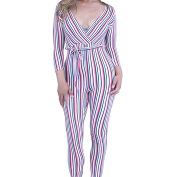 V-Neck 3/4 Sleeves Striped Self Tie Waist Catsuit Jumpsuit